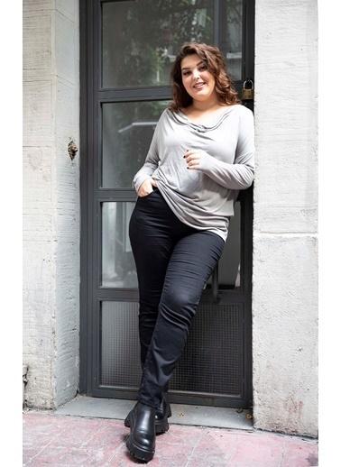 Luokk Breda Degaje Yaka Uzun Kol Kadın Bluz Gri